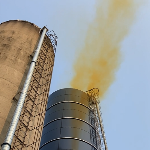 Image of silo gas pluming